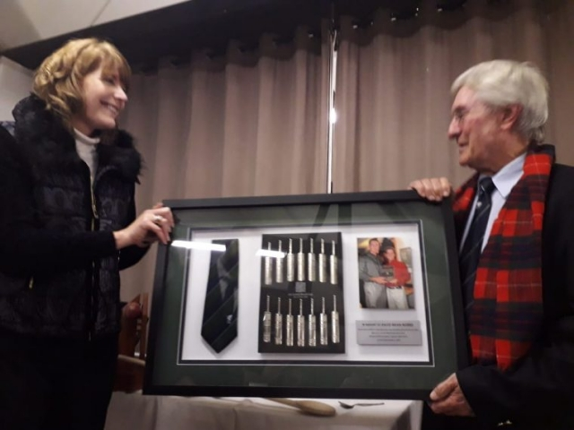 The late Dave Norris' wife, Lynn, kindly donating some Cricket World Cup memorabilia to the club
